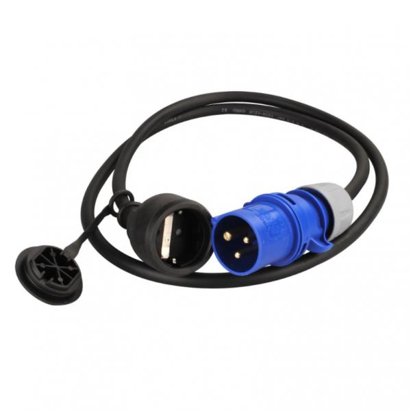 Adapterkabel Schuko-Kupplung auf CEE-Stecker 1,5 lang
